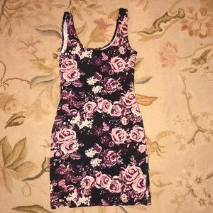 Black, pink and purple floral print bodycon dress